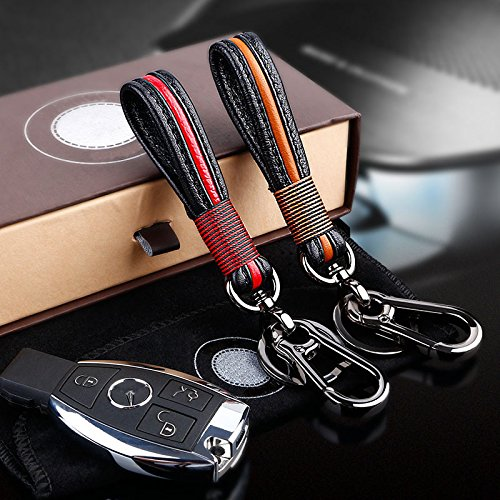 Handmade Leather Key Chain, Premium Leather Stainless Car Key Chain Key Ring for Man Women by TAKAVU in Gift Box fit Porsche Mercedes BMW Cadillac Lexus Ford Toyota VW Honda Chevrolet