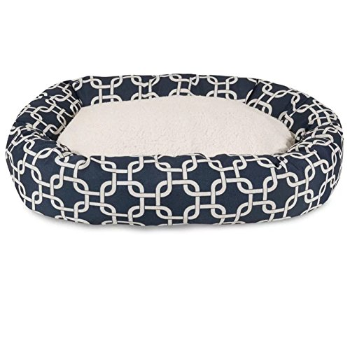 Links Sherpa Bagel Bolster Pet Bed, Bed For Dogs , Navy Blue