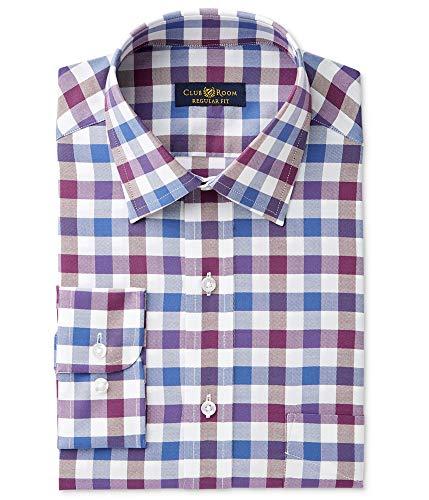 Club Room Mens Oxford Button Up Dress Shirt, Purple, 17