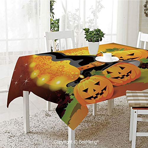 BeeMeng Large Family Picnic Tablecloth,Easy to Carry Outdoors,Halloween,Witches
