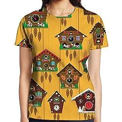 Cuckoo Clock Teen Girl Humor Pullover T-shirt For Clubbing Crewneck Comfort Shirts Short-Sleeve