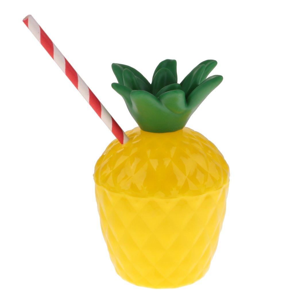 FLAMEER 10pcs Tasse /à Boisson Verre Plastique /à Jus Motif Fruits Tropical Ananas avec Paille /à Boire Assortie Accessoire Fantaisie F/ête danniversaire