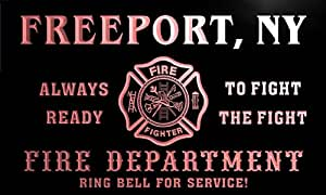 qy61517-r FIRE DEPT FREEPORT, NY NEW YORK Firefighter Neon Sign