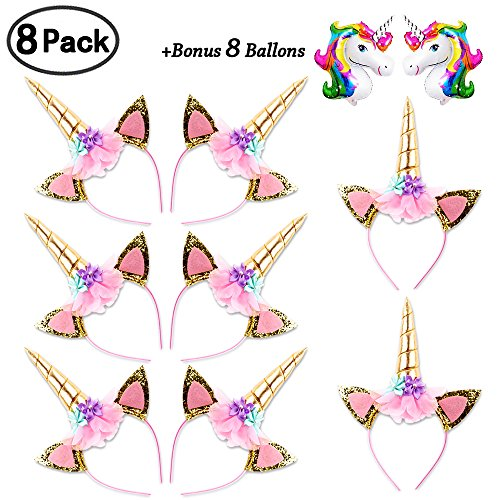 DaisyFormals Unicorn Headband Set(8 Pack)Shiny Gold Glitter Flowers Ears Headbands for Girls Adults Birthday Halloween Party Costume + 8 Free Unicorn Balloons -