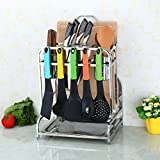 Hyun times Cutting Board Stainless Steel Kitchen Knife Shelf Kitchen Shelf Multifunctional Tool Rack Vegetable Plates Shelf Storage