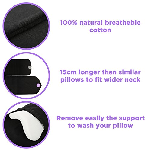Travel Pillow Set : 100% Cotton Travel Neck Pillow with Memory Foam Support, Sleep Mask, Earplugs - Airplane Pillows - Flight Pillow Wrap for Sleeping Travel Accessories - Travel Essentials Black by Prokitline (Image #3)