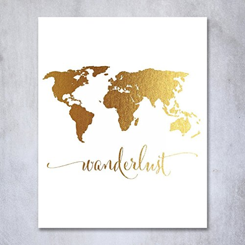 Free Wanderlust World Map Gold Foil Art Print Travel World Traveler Poster Modern Art Contemporary Metallic Wall Decor 5 inches x 7 inches A4