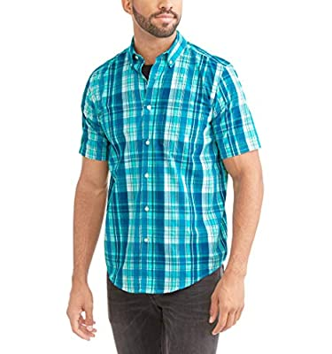 George Men's Wrinkle Resistant Poplin Button Down Short Sleeve Shirt