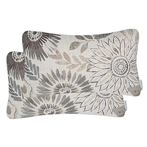 Mika Home Pack of 2 Decorative Oblong Rectangular Throw Pillow Cover Cushion Cases for Chair,Sunflower Pattern,12×20…