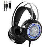 Gaming Headset USB 3.5mm with Microphone for PC Games Noise Cancelling Computer Gamer Headphones Over Ear Comfortable Protein Earpads & Cool LED Light (Black)