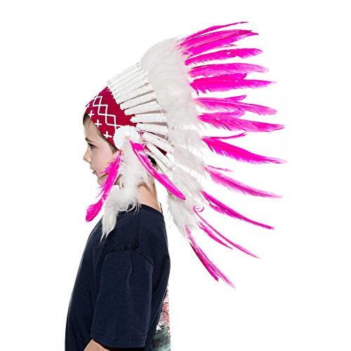 Novum Crafts Kids Feather Headdress | Native American Indian Inspired | Pink (Feathered Headdress)