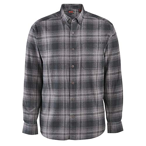 Wolverine Men's Hammond Long Sleeve Flannel Shirt, Dark Gray Plaid, X-Large