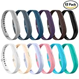LEEFOX 12 Colors Fitbit Flex 2 Bands, Adjustable Fit Bit Flex 2 Accessories Silicon Replacement Wristbands w/Fastener Clasp Fitness Strap for Original Fitbit Flex 2, 12 Packs, Small(Psalm 23-3)