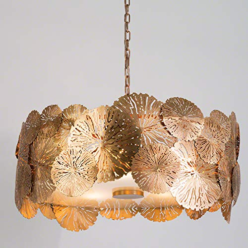 Global Views Modern Brass Gold Lily Pad Pendant Light | Chandelier Organic Botanical Round ()
