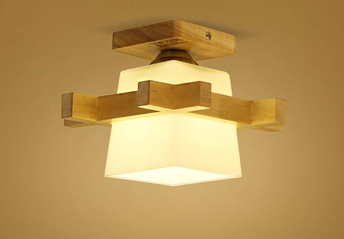 Hjhy soffitto casa luci lampada da letto in legno creativa luci