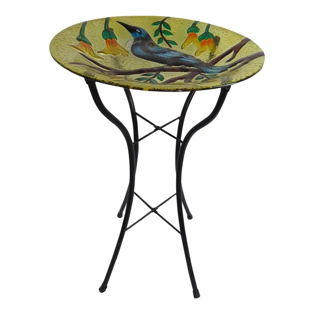 Comfy Hour 22'' Green Metal Art Turtle Top Birdbath Garden Décor