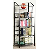 New Five Tier Black Metal Bookcase