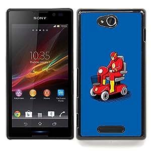 For Sony Xperia C Case , Transporte Flying Car Roja - Diseño Patrón Teléfono Caso Cubierta Case Bumper Duro Protección Case Cover Funda