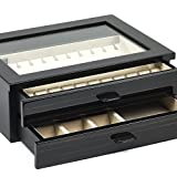 Bello Collezioni - Salvatore Luxury Italian Made Polished Ebony Cufflink and Jewelry Box For 24 Pairs.