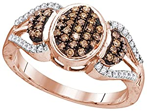 Size 6 - 10k Rose Gold Round Chocolate Brown Diamond Oval Cluster Ring (1/3 Cttw)