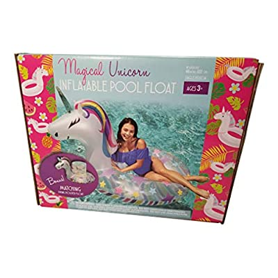 Sun Pleasure Magical Unicorn Pool Float with Bonus Matching Drink Holder Float!: Toys & Games