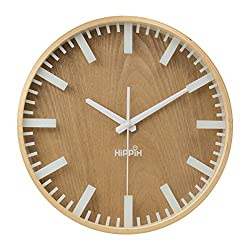 Hippih 12 Silent Wall Clock Wood Non Ticking Digital Quiet Sweep Home Decor Vintage Wooden Clocks(scale)