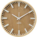 Silent Wall Clock Wood Non Ticking Digital Quiet Sweep Home Decor Vintage 12'' Wooden Clocks with Glass Cover