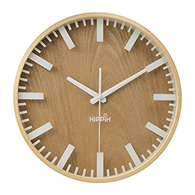 Silent Wall Clock Wood Non Ticking Digital Quiet Sweep Home Decor Vintage 12'' Wooden Clocks with Glass Cover -  - wall-clocks, living-room-decor, living-room - 51kFYrLZR7L. SS400  -