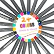 Fineliner Pens, iBayam 24 Colors Fine Tip Colored Writing Drawing Markers Pens Fine Line Point Marker Pen Set for Bullet Journal Planner Note Calendar Coloring Art Projects