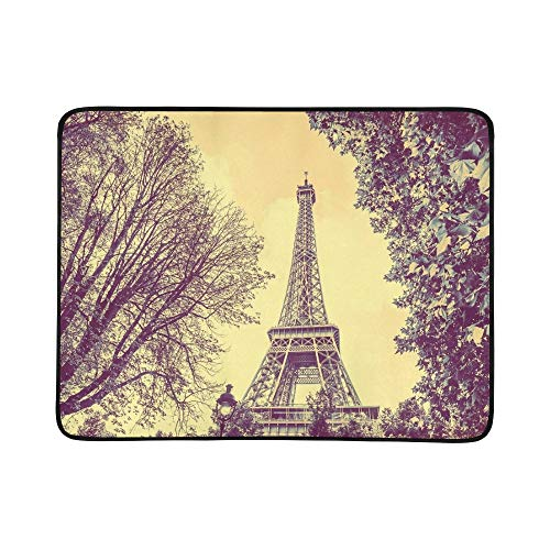 - JXCSGBD France Eiffel Tower Winter Old Portable and Foldable Blanket Mat 60x78 Inch Handy Mat for Camping Picnic Beach Indoor Outdoor Travel