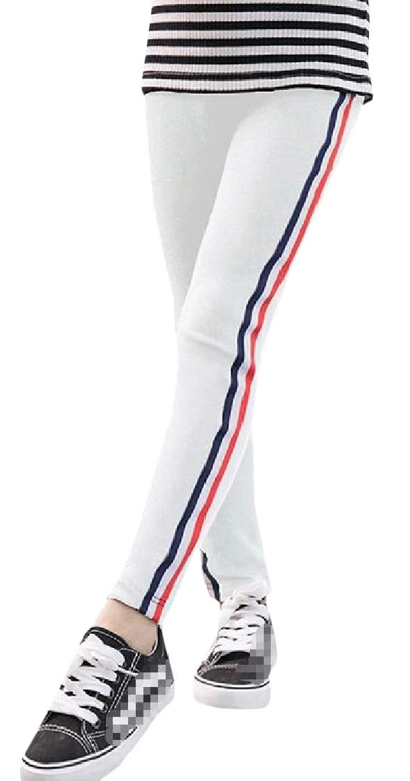Etecredpow Girls Striped Slim Trousers Pants Casual Length Legging White 4T