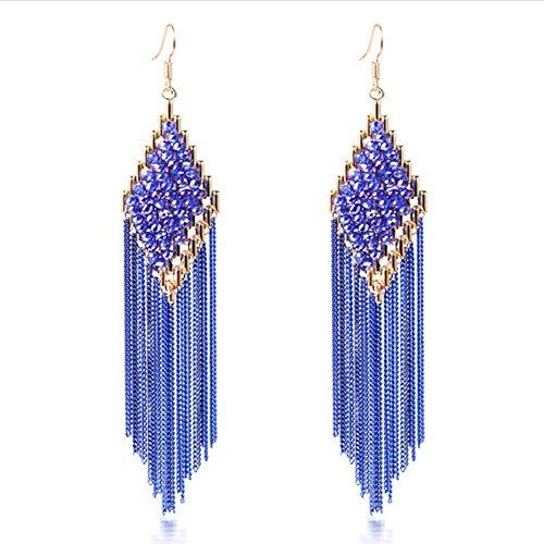 Chandelier Crystal Gold Laurel (HeyGirl Christmas Bohemian Long Tassel Earrings Ear Clip(Blue))