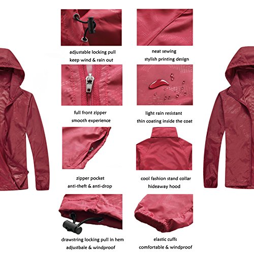 ZCL Men's Lightweight Windbreaker Jacket with Hideaway Hood, Packable Quick Dry Stylish