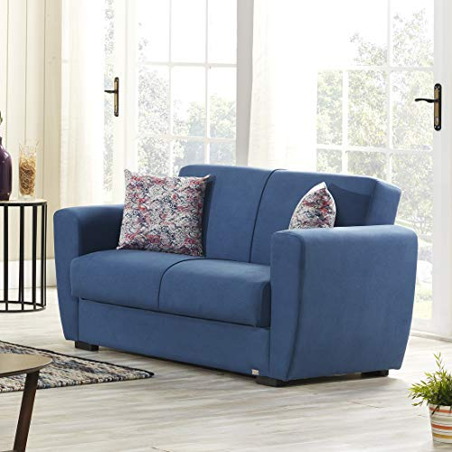 Evok Dolce Fabric Sofa Bed 2 Seater with Storage Blue