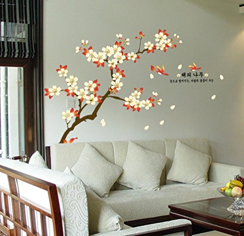 - BIBITIME Almond Tree Branch Blooming Apricot Flowers Wall Decal Couple Birds carries Leaf Sayings Quotes Sticker for Living Room TV Background Decorations DIY Art Mural