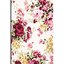 Journal Daily: Red Rose Floral Pattern, Lined Blank Journal Book, 6 x 9, 200 Pages