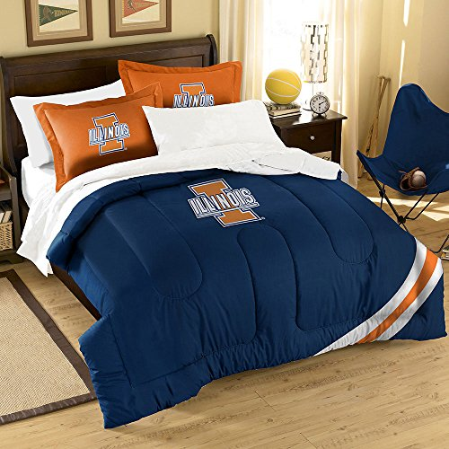 The Northwest Company Officially Licensed NCAA Illinois Illini Twin/Full Size Comforter with Sham Set (Illinois Sham)