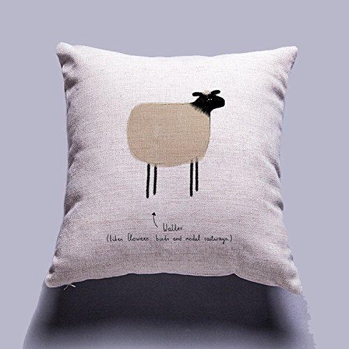 Colorful Hand Draw Cartoon Animals Watercolor Art Design Unique Cotton Linen Home Decorative Cushion Cover Throw Pillow Case 18x18 inch (Sheep)