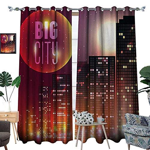 RenteriaDecor Modern Patterned Drape for Glass Door Big City Theme Urban Skyline Night Lights Full Moon Stars and Skyscrapers Image Waterproof Window Curtain W120 x L84 Multicolor