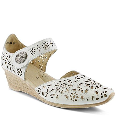 Spring Step Women's Nougat Wedge Sandal, White, 38 EU/7.5-8 M US
