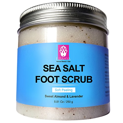 Elbahya Sea Salt Foot Scrub with Lavender and Sweet Almond Oil. Perfect For Dry Cracked Feet and Heels 8.81 Oz. (Salt Foot Scrub Sea)