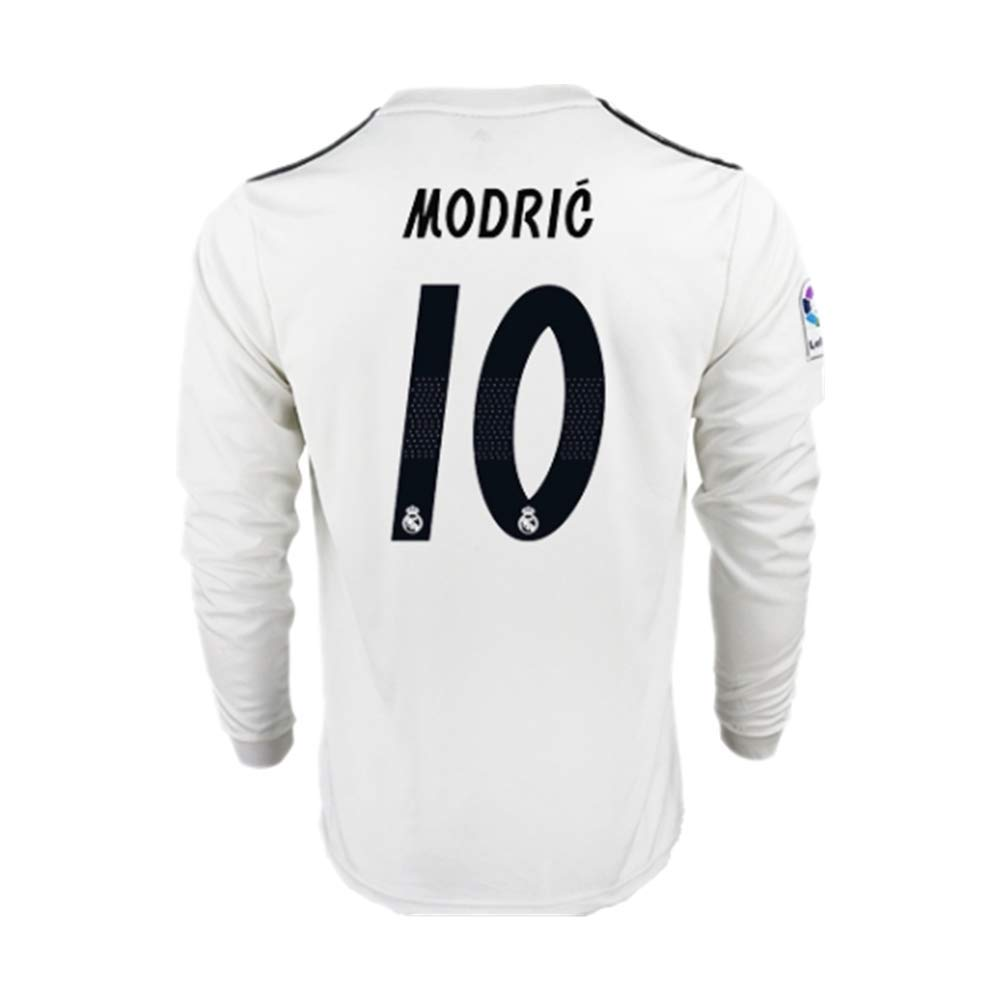 33274d43f4d 18 19 Season Real Madrid  10 Luka Modric Home Mens Long Sleeve Soccer  Jersey Color White Size M