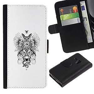 NEECELL GIFT forCITY // Billetera de cuero Caso Cubierta de protección Carcasa / Leather Wallet Case for Samsung Galaxy S3 MINI 8190 // Búho del lobo Dreamcatcher