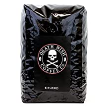Death Wish Whole Bean Coffee, The World's Strongest Coffee, Fair Trade and Organic Coffee Beans, 5 Lb Bag