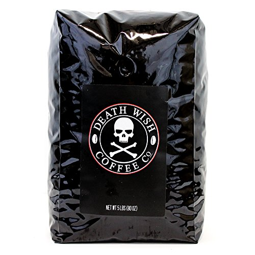 Death Wish Whole Bean Coffee, The World's Strongest Coffee, Fair Trade and USDA Certified Organic - 5 Pound Bulk Value-Bag