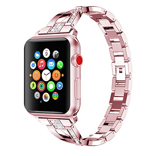 AiiKo Compatible with Apple Watch Bands Women,X Link Stainless Steel Metal Bracelet with Bling Rhinestone Jewelry Replacement for Apple Watch Series 4/3/2/1,42mm Rose Pink