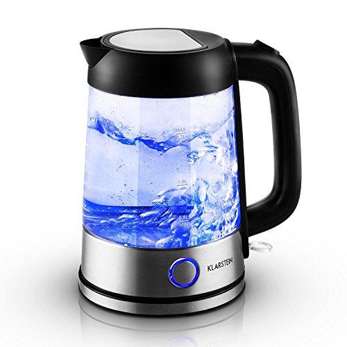 Klarstein Tiefblau Edelstahl-Glas Wasserkocher LED Glaswasserkocher mit blauer LED Beleuchtung (1,7 Liter, 2200 Watt, 360° Steckverbindung, Cool-Touch Griff, Abschaltautomatik, Kalkfilter) silber-schwarz