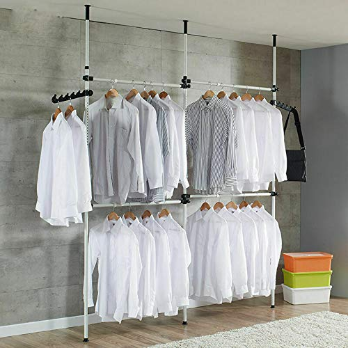1 Querstange tr/ägt 60kg EBTOOLS Teleskop Garderoben System Kleideraufbewahrungssystem Verstellbares Regalsystem Ordnungssystem Kleiderschrank System Garderobenst/änder mit 3 Stangen und 4 Quertr/äger