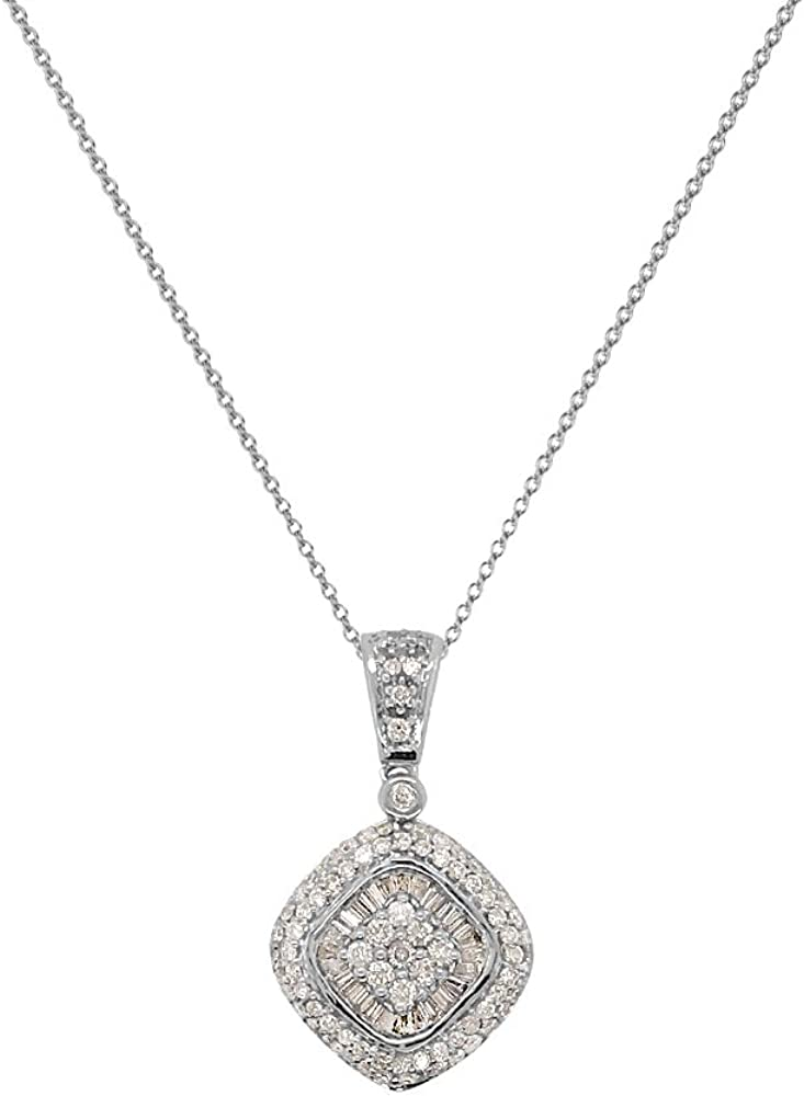 1//4 ctw 14K White Gold with 18 inches 14K Gold Chain I1-I2, H-I TriJewels Round /& Baguette Diamond Cross Pendant