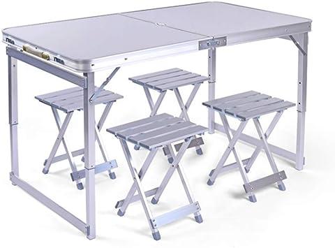 LIW 4 Sillas Conjunto de mesas Plegables Picnic al Aire Libre Jardín para Acampar Cocina portátil Mesas de Comedor Altura Ajustable con asa de 4 pies: Amazon.es: Deportes y aire libre